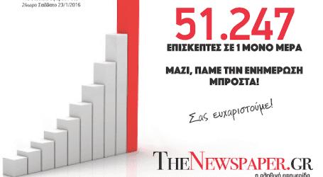 51.247 επισκέπτες σε μία μόνο ημέρα στο TheNewspaper.gr