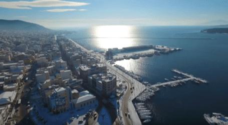 Δείτε τον υπέροχο χιονισμένο Βόλο σε ένα απίστευτο βίντεο από ψηλά! (βίντεο)