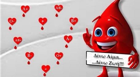 Συγκέντρωση τριάντα και πλέον μονάδων αίματος στη σημερινή αιμοδοσία