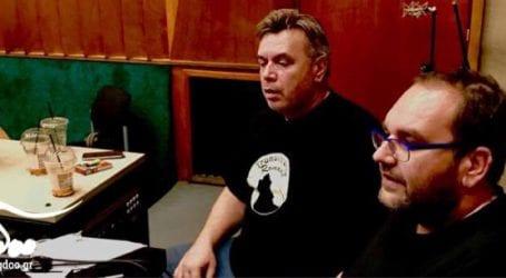 Ο Μανώλης Λιδάκης στο στούντιο με τον Ανδρέα Κατσιγιάννη