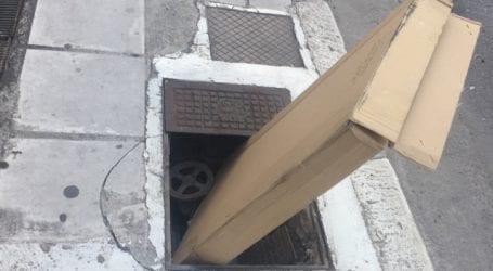 Επικίνδυνο φρεάτιο σε πεζοδρόμιο στον Βόλο