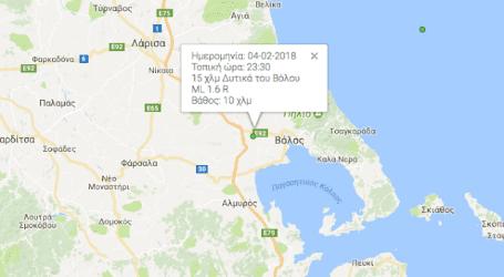 Ασθενής σεισμός κοντά στον Βόλο (χάρτης)