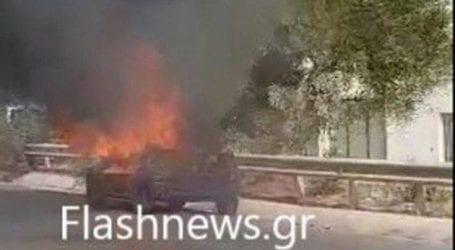 Στις φλόγες τυλίχθηκε αυτοκίνητο στην εθνική οδό Ρεθύμνου – Ηρακλείου