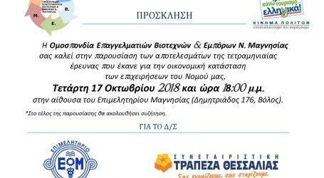 Παρουσίαση 6ης Έρευνας Αποτύπωσης Οικονομικών Στοιχείων των τοπικών επιχειρήσεων της Μαγνησίας από την Ο.Ε.Β.Ε.Μ.
