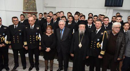 Στην τελετή ορκωμοσίας των πρωτοετών σπουδαστών της Σχολής Πλοιάρχων ο Διοικητής της 4ης ΠΕΔΙΛΣ Εμ.Κανάλης