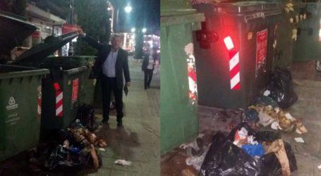 Απορρίμματα εκτός κάδων λίγο μετά την αποκομιδή στο κέντρο της Λάρισας – Απειλεί με πρόστιμα ο δήμος