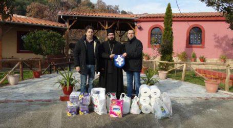 Προσφορά ειδών παντοπωλείου στην Ιερά Μονή των Αγίων Ραφαήλ-Νικολάου-Ειρήνης στον Πυργετό Λάρισας