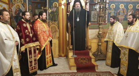 Ο Σεβασμιότατος Μητροπολίτης Λαρίσης και Τυρνάβου Ιερώνυμος στον εσπερινό αγρυπνίας Αγίου Ελευθερίου στη Φαλάνη