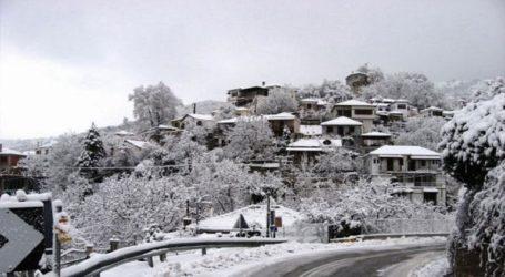 Σε εξέλιξη η χιονόπτωση σε ορεινές περιοχές της Μαγνησίας