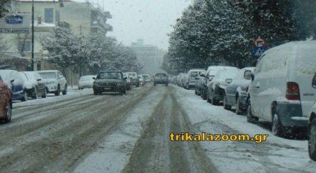 Πολύ χιόνι στην πόλη των Τρικάλων