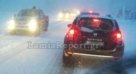 Πυκνές χιονοπτώσεις στη Φθιώτιδα – Απαγορευτικό για φορτηγά