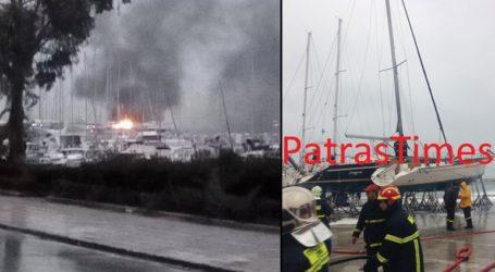 Φωτιά σε δύο ιστιοφόρα στο παλιό λιμάνι της Πάτρας