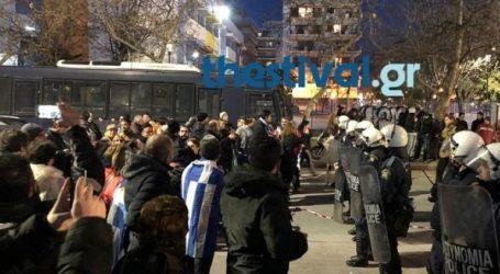 Μια σύλληψη κατά τη διαδήλωση έξω από το Μέγαρο Μουσικής Θεσσαλονίκης