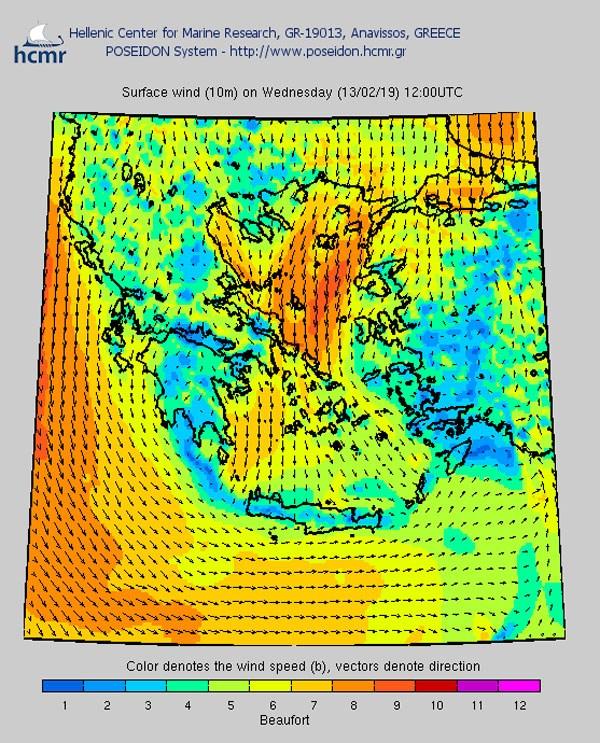 Άνεμος επιφανείας (Το χρώμα δηλώνει την ένταση του ανέμου στην κλίμακα Μποφόρ)
