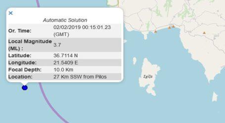 Σεισμική δόνηση 3,7R νοτιοδυτικά της Πύλου