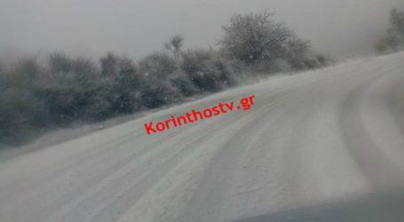 Έντονη χιονόπτωση στην Καστανιά Κορινθίας