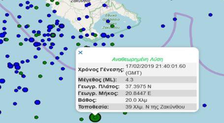 Σεισμική δόνηση 4,3R νότια της Ζακύνθου