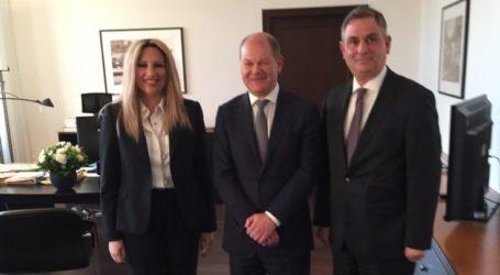 Με το Γερμανό υπουργό Οικονομικών Σολτς συναντήθηκαν Γεννηματά – Σαχινίδης