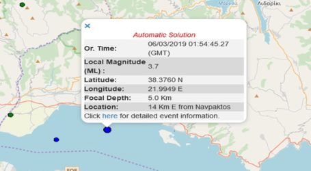 Σεισμική δόνηση 3,7R ανατολικά της Ναυπάκτου