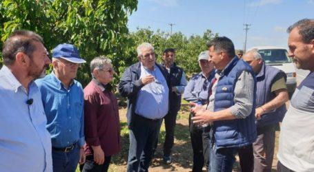 Επίσκεψη Ν. Παπαδόπουλου στις πληγείσες από το χαλάζι περιοχές του Δήμου Αγιάς