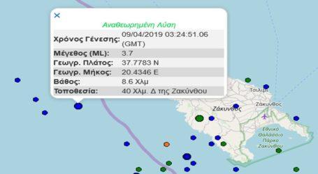 Σεισμική δόνηση 3,7R δυτικά της Ζακύνθου