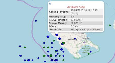 Σεισμική δόνηση 3,7R βορειοδυτικά της Ζακύνθου