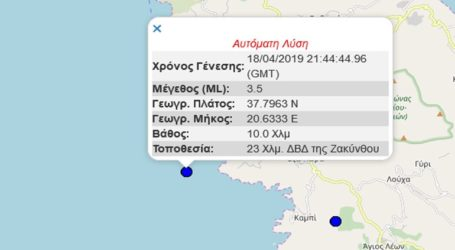 Σεισμική δόνηση 3,5R βορειοδυτικά της Ζακύνθου