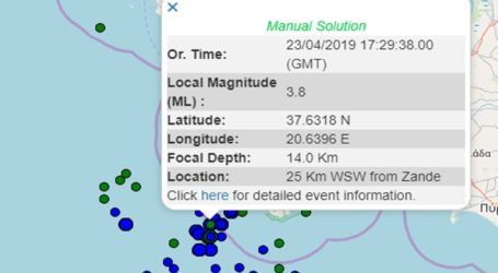Σεισμός 3,8R στη Ζάκυνθο