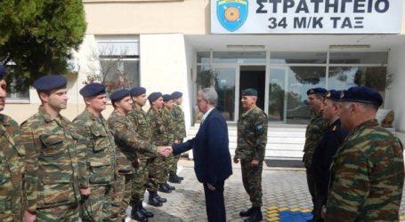 Ο Αναπληρωτής Υπουργός Εθνικής Άμυνας Πάνος Ρήγας στην 34η Μ/Κ Ταξιαρχία
