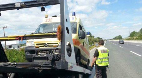 Έσκασε το λάστιχο ασθενοφόρου του ΕΚΑΒ Πιερίας στην Εθνική Οδό Θεσσαλονίκης