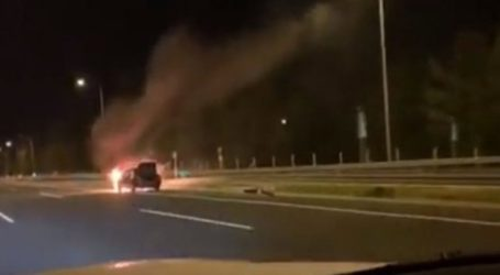 Στις φλόγες αυτοκίνητο στην παλιά εθνική οδό Χανίων