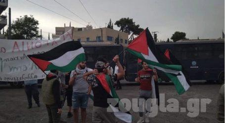 Συγκέντρωση Παλαιστινίων έξω από την πρεσβεία του Ισραήλ