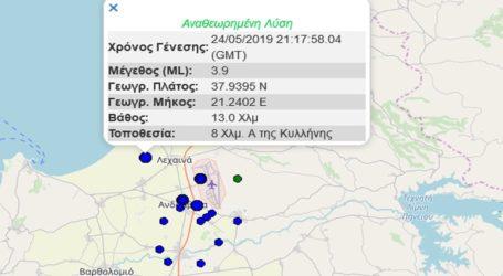 Σεισμική δόνηση 3,9R ανατολικά της Κυλλήνης