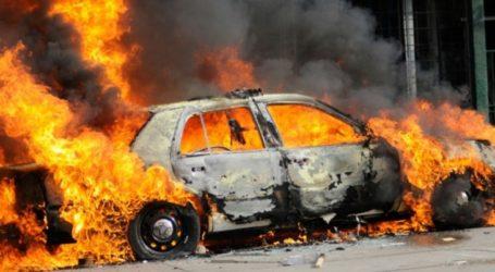 Αυτοκίνητο στο Μεγάλο Μοναστήρι τυλίχτηκε στις φλόγες