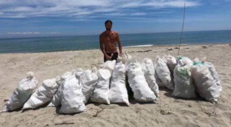 Έλληνας ράπερ καθάρισε παραλία 1,5 χιλιομέτρου στη Λάρισα, γεμίζοντας 20 σακιά με σκουπίδια  (βίντεο)