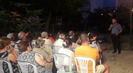 Ο Αλέξανδρος Μεϊκόπουλος στην εκδήλωση του ΣΥ.ΡΙΖ.Α.-Προοδευτική Συμμαχία στην πλατεία Αγ. Βαρβάρας στη Ν. Ιωνία