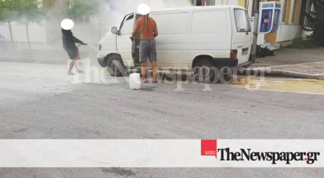 Βόλος: Φωτιά σε επαγγελματικό φορτηγάκι [εικόνες]