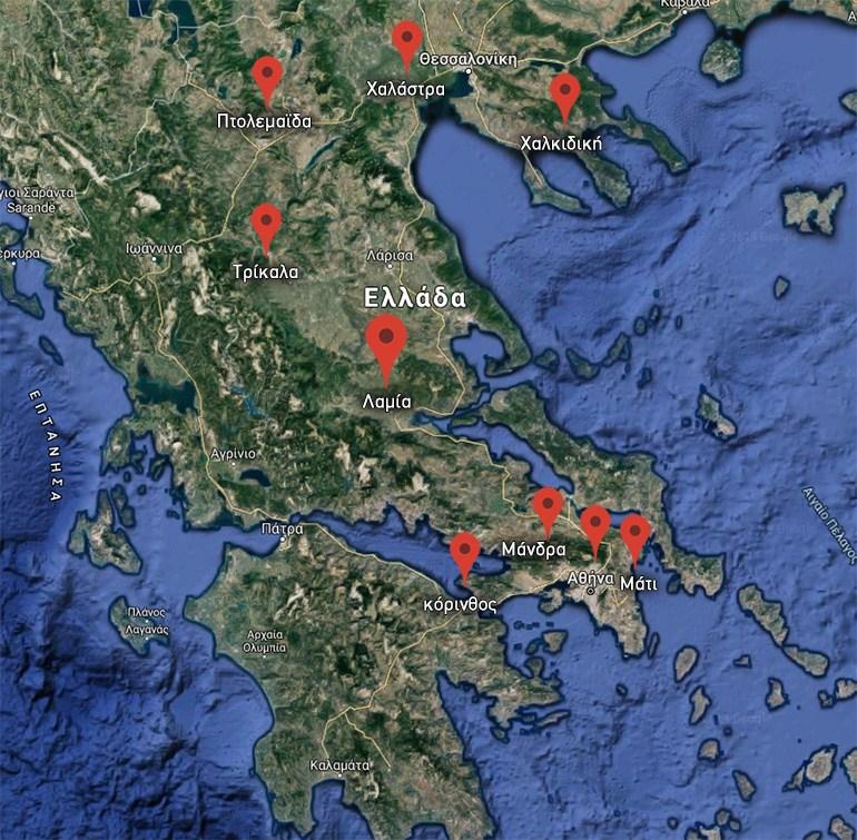 Χάρτης της Ελλάδας στον οποίο φαίνονται τα μέρη που έχουν εκδηλωθεί ακραία φαινόμενα