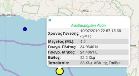 Σεισμική δόνηση 4,2R βορειοανατολικά της Γαύδου