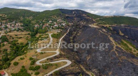 Φθιώτιδα: Εικόνες από drone – Μία ημέρα μετά την πυρκαγιά στο χωριό Δίβρη