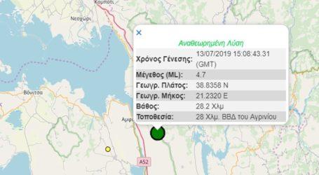 Σεισμική δόνηση 4,7R βορειοδυτικά του Αγρινίου