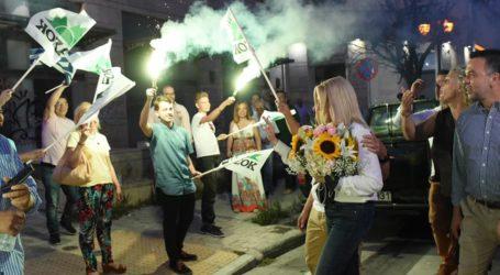 Με καπνογόνα και σημαίες του ΠΑΣΟΚ η υποδοχή της Φώφης στον Βόλο [εικόνες]