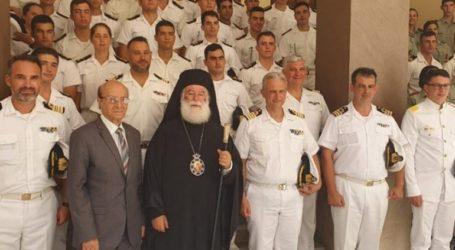 Θερμή υποδοχή για τα πληρώματα δύο ελληνικών πολεμικών πλοίων από τον Πατριάρχη Αλεξανδρείας