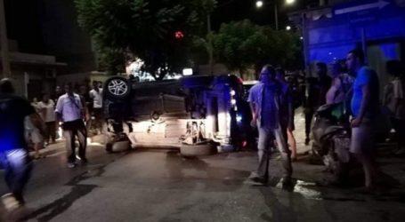 Αυτοκίνητο αναποδογύρισε σε κεντρικό δρόμο του Ηρακλείου
