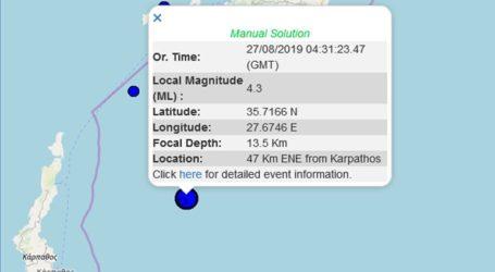 Σεισμός 4,3R σε θαλάσσια περιοχή στα Δωδεκάνησα