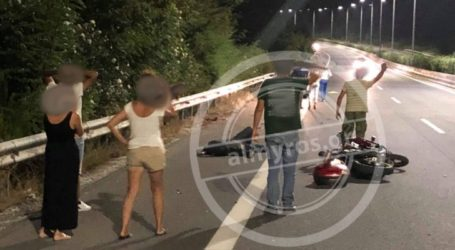 Αλμυρός Βόλου: Μοτοσικλετιστής τραυματίστηκε σε τροχαίο στην εθνική οδό [εικόνα]
