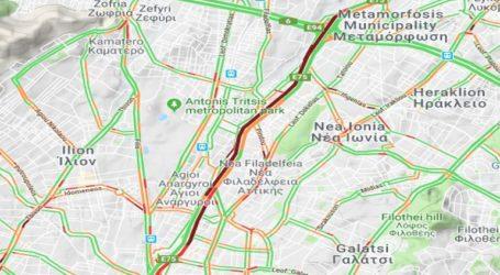 Auξημένη κίνηση στην Εθνική Οδό Αθηνών
