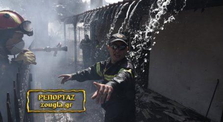 Βίντεο με τους πυροσβέστες να επιχειρούν στα φλεγόμενα σπίτια