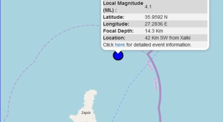 Σεισμός 4,1R σε θαλάσσια περιοχή στα Δωδεκάνησα