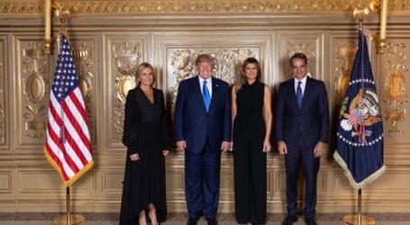Ο Κυριάκος Μητσοτάκης και η Μαρέβα στη δεξίωση του προέδρου Τραμπ